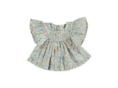 Petit Indi - Green Blossom Dress W/ Green Diaper Cover