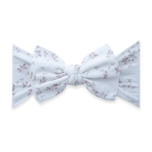 Baby Bling - White and Pink Floral Embroidered Bow