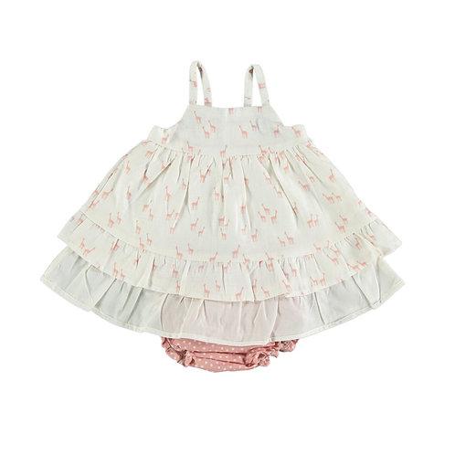 Petit Indi - Giraffe White Dress w/ Diaper Cover