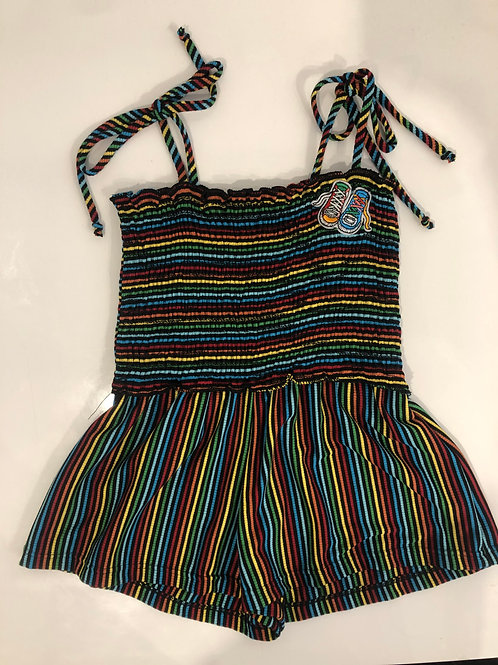 Little Mass - Rainbow Stripe Romper W/ Sneaker Patch