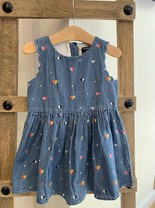 Blu and Blue - Embroidered Heart Denim Dress