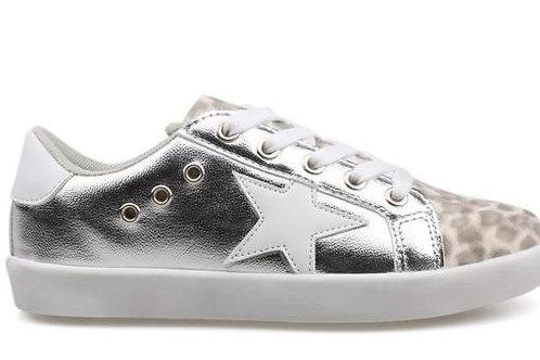 Hoo Shoes - Silver/Leopard Sneakers
