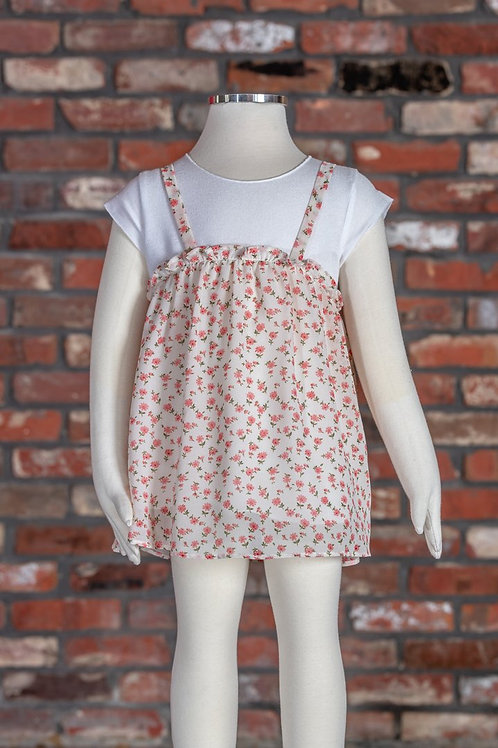 ML Kids - Pink Floral Overlay Tunic