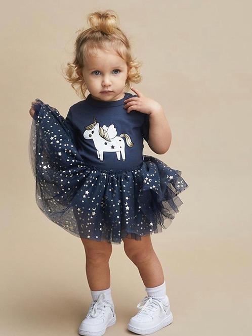 Huxbaby - Navy Unicorn Onesie Dress