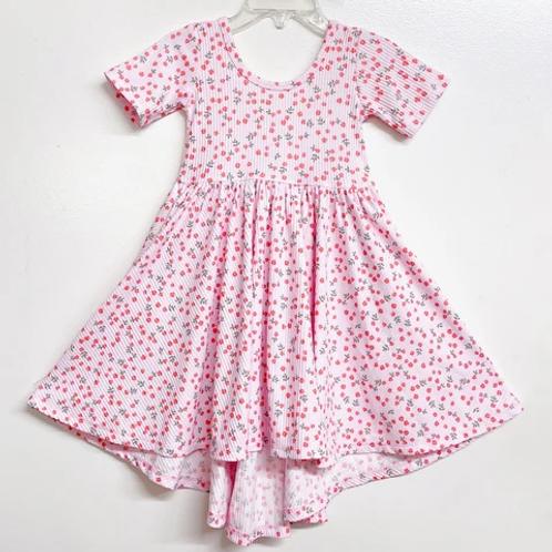 Eyee - Ribbed Light Pink Floral Dress