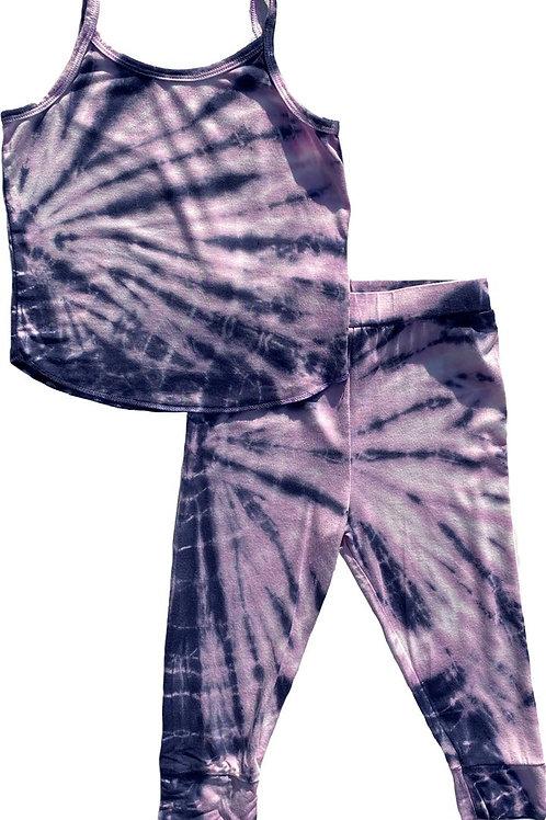 Rowdy Sprout - Purple Tie Dye PJ Set