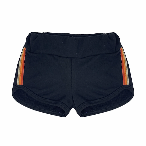 Wee Monster - Striped Side Black Short Shorts