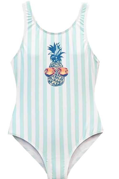 Limeapple - Pineapple Striped  Swimsuit