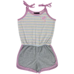 Tiny Whales - Pink Striped Romper