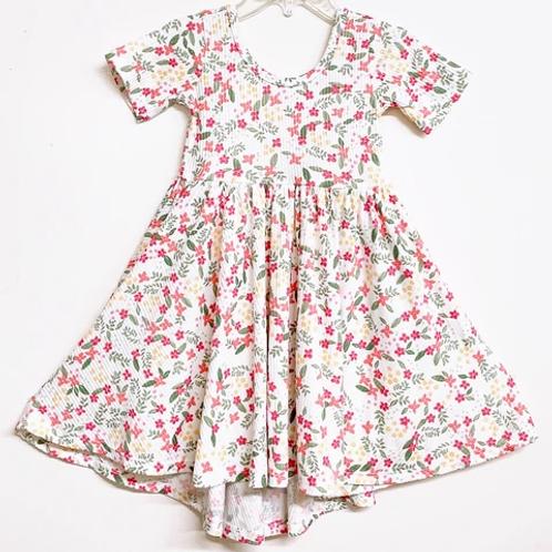 Eyee - Ribbed White Floral Dress