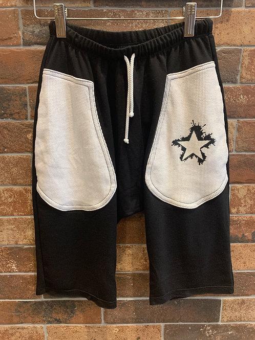 Jagged Culture - Black Splatter Star Long Shorts