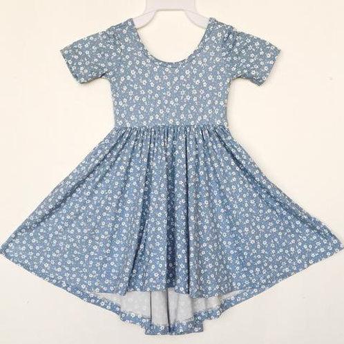 Eyee - Blue Floral High Low Twirl Dress