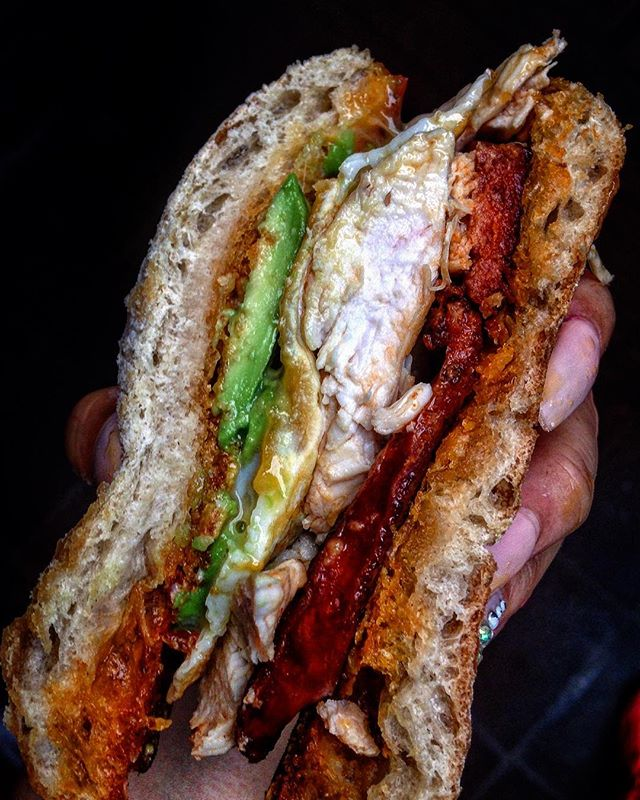 Sammich season 👅Chicken, chorizo, avoca