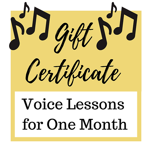 Gift Certificate for 1 Month Voice Lessons