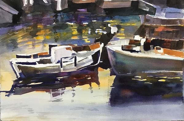 """Boats"". An original painting by Dallas Artists, Pat WheelisKochan"