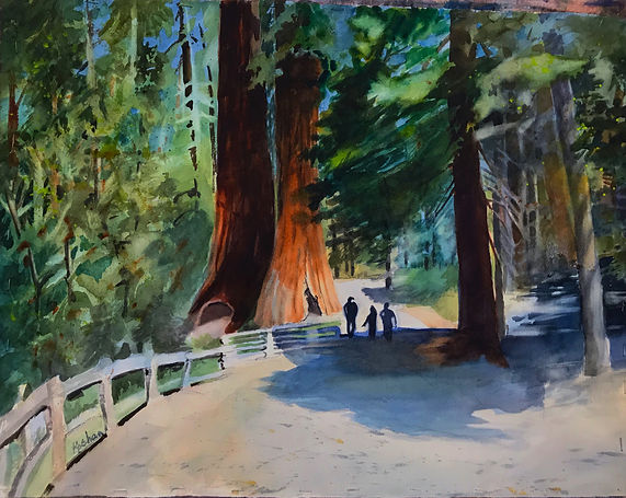"""The Yosemite Trees"". An original painting by Pat Wheelis Kochan"