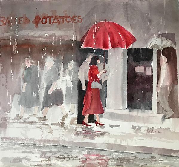 """Lady in Red II"". An original painting by Dallas Artist, Pat Wheelis Kochan"
