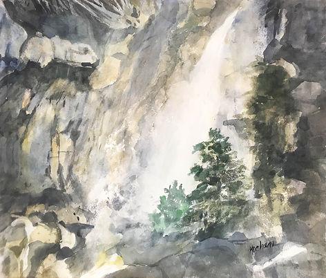 """Yosemite Falls"". An original painting by Dallas Artist- Pat Wheelis Kochan"
