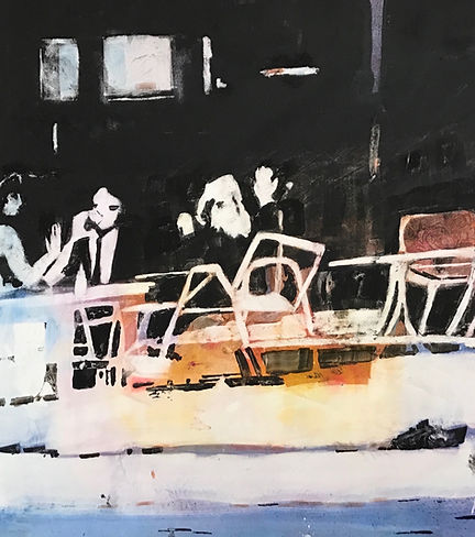"""""""Lunch On Patio"""", an original Watercolor by Dallas Artist, Pat Wheelis Kochan.$2,000 22""""x24""""Original Watercolor on Yupo Paper  Awards: Southwest Watercolor Society Cash Award of $500.00, 2nd Place in 2017 Exhibition."""