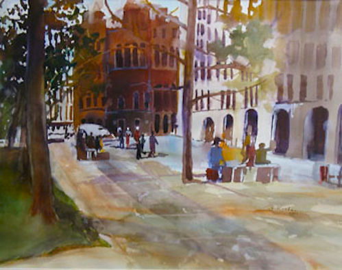"""Courthouse"", an original Watercolor  Painting by Dallas Artist, Pat Wheelis Kochan. $1,000.  22""x28"" Original Watercolor."