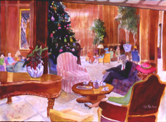 """Tea Time At The Adolphus"". Original Painting by Pat Kochan"