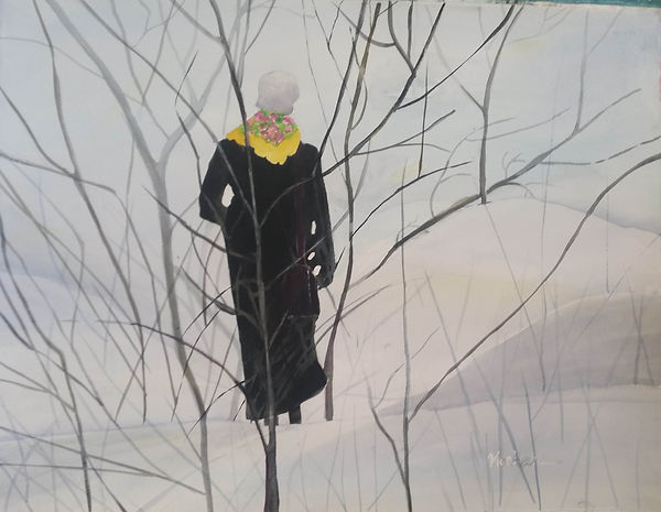 """LadyWalking"".An original painting by Dallas Artist, Pat Wheelis Kochan"