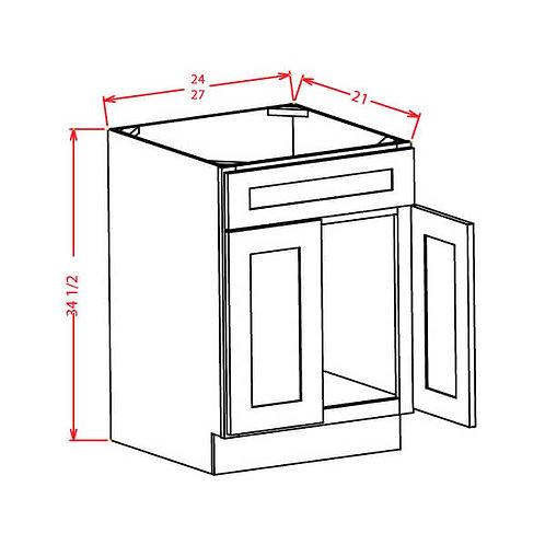 "Shaker White Vanity Sink Base Cabinet - 24""W X 21""D X 34-1/2""H-2D-1 False Drawer"