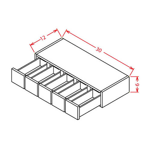 """Shaker Dove Wall Spice Drawer - 30""""W X 6""""H X 12""""D"""