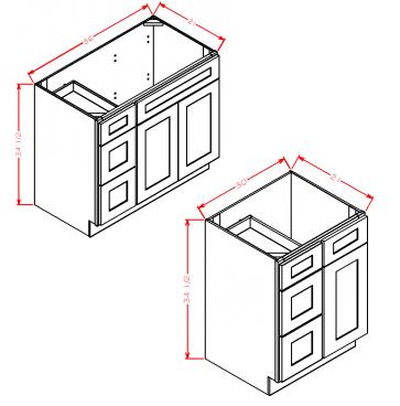 "Charleston Antique White Vanity Base: 36""Wx21""Dx34-1/2""H 2 doors, 3 Drawers on L"