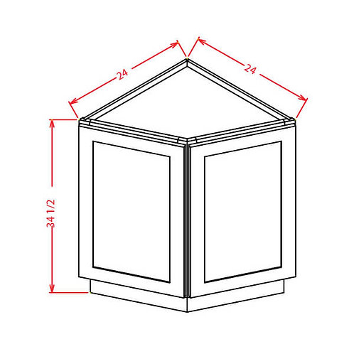 """Tahoe White Angle Base Cabinet - 24""""W X 24""""D X 34-1/2""""H-2D"""