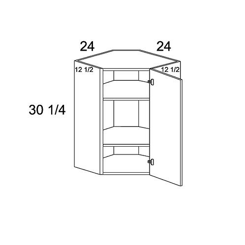 "MADRID GREY WOOD DIAGONAL CORNER WALL CABINET 24""W X 30 1/4""H X 12 1/2""D"