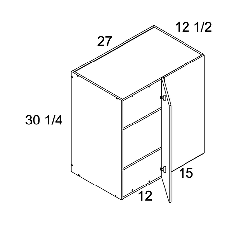"MADRID GREY WOOD WALL BLIND CORNER CABINET 24""W X 30 1/4""H X 12 1/2""D"