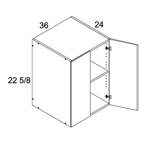 "MADRID GREY WOOD 36""W X 12 1/2""H X 24""D 2 DOOR WALL"