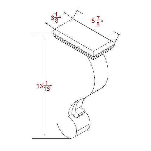 "Shaker Grey Corbel - 3-1/8""W X 13-1/16""H X 5-7/8""D"