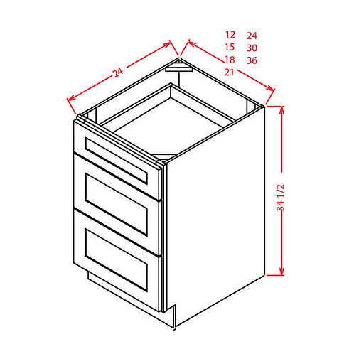 "Shaker Grey 3 Drawer Base Cabinet - 30""W X 24""D X 34-1/2""H-3DRA"