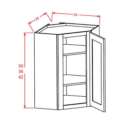 "Charleston Saddle Wall Diagonal Corner Cabinet - 24""W X 36""H X 24""D-1D-2S"