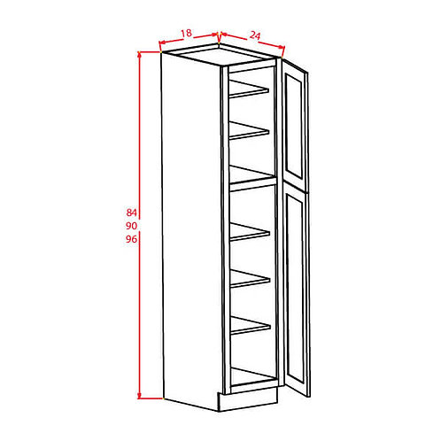 "Charleston Saddle Wall Pantry - 18""W X 24""D X 96""H-2D-5S"