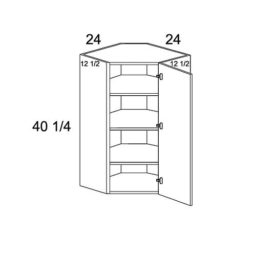 "MADRID GREY WOOD DIAGONAL CORNER WALL CABINET 24""W X 40 1/4""H X 12 1/2""D"