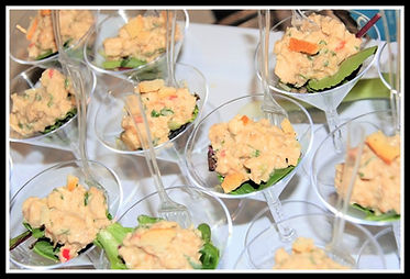 Thai chicken salad served in martini glass