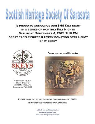 SHSS September 4, 2021 Kilt Night will be         Eireann's Call