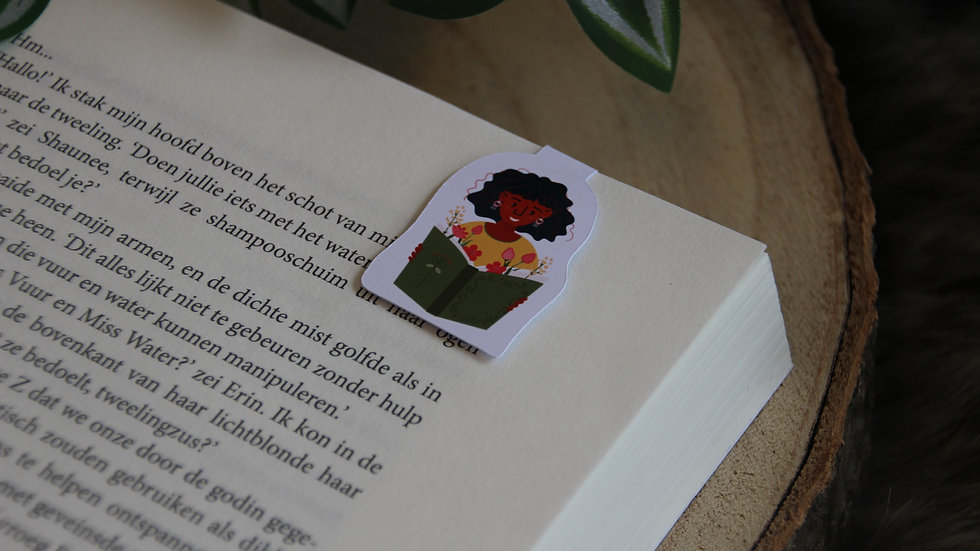 Books And Flowers Girl Magnetic Bookmark