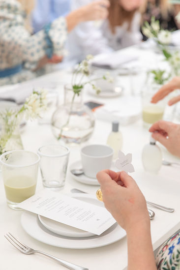 Place setting details with menu at Bamford Brompton Cross breakfast event