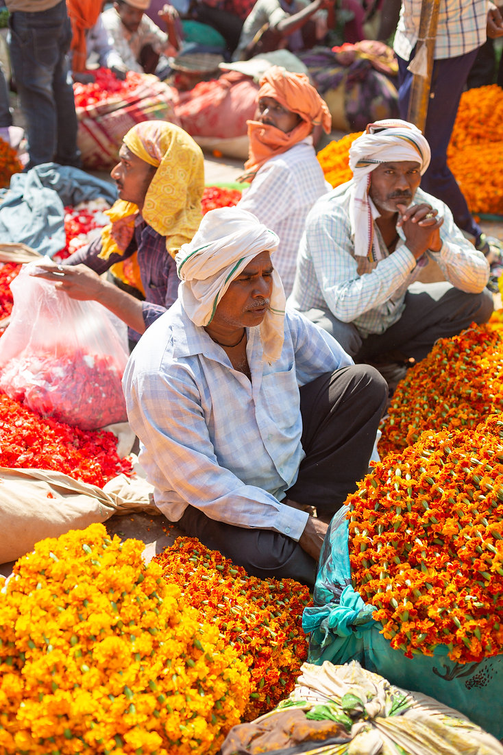 Colourful flower market in Varanasi India