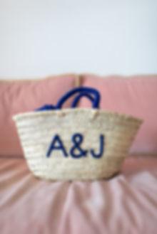 Monogrammed wedding straw rattan beach bag