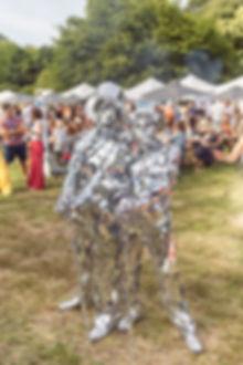 Mirrored man fancy dress costume at Soho House Festival