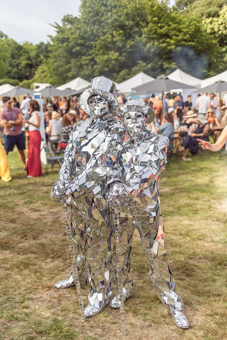 Mirrored man fancy dress costume at Soho House Festival