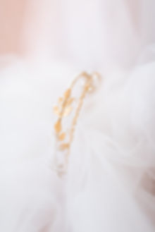 Gold leaf bridal hairband with pearl sequins