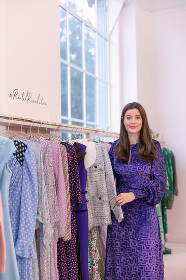 Luxury sustainable fashion rental company Hurr founder and CEO Victoria Prew at pop up shop