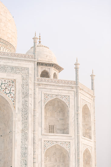 Taj Mahal in Agra India close up of calligraphy writing
