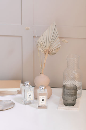 Poppy and Barley fragrance still life lifestyle shoot with glassware and ceramics